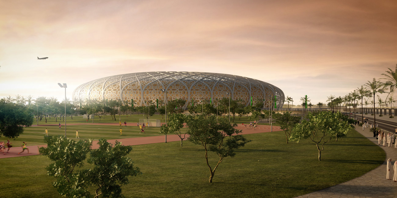 stadium distant view - King Abdullah Sports Oasis by Marks Barfield Architects