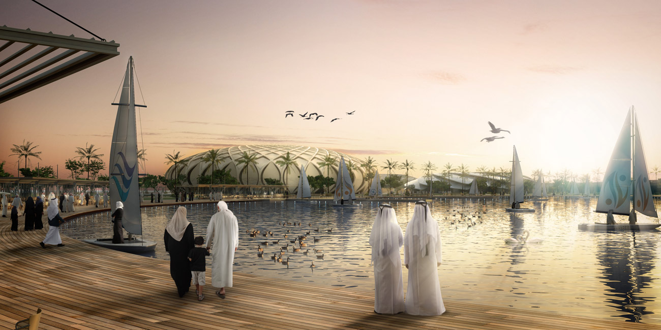 view from lake - King Abdullah Sports Oasis by Marks Barfield Architects