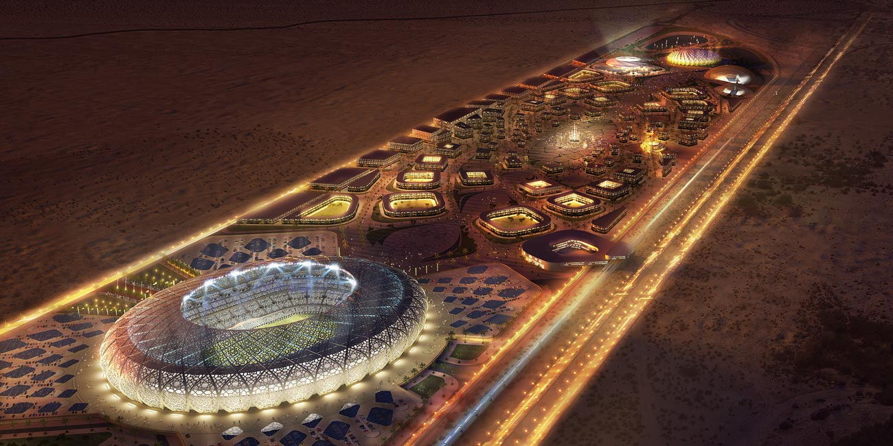 night view - King Abdullah Sports Oasis by Marks Barfield Architects