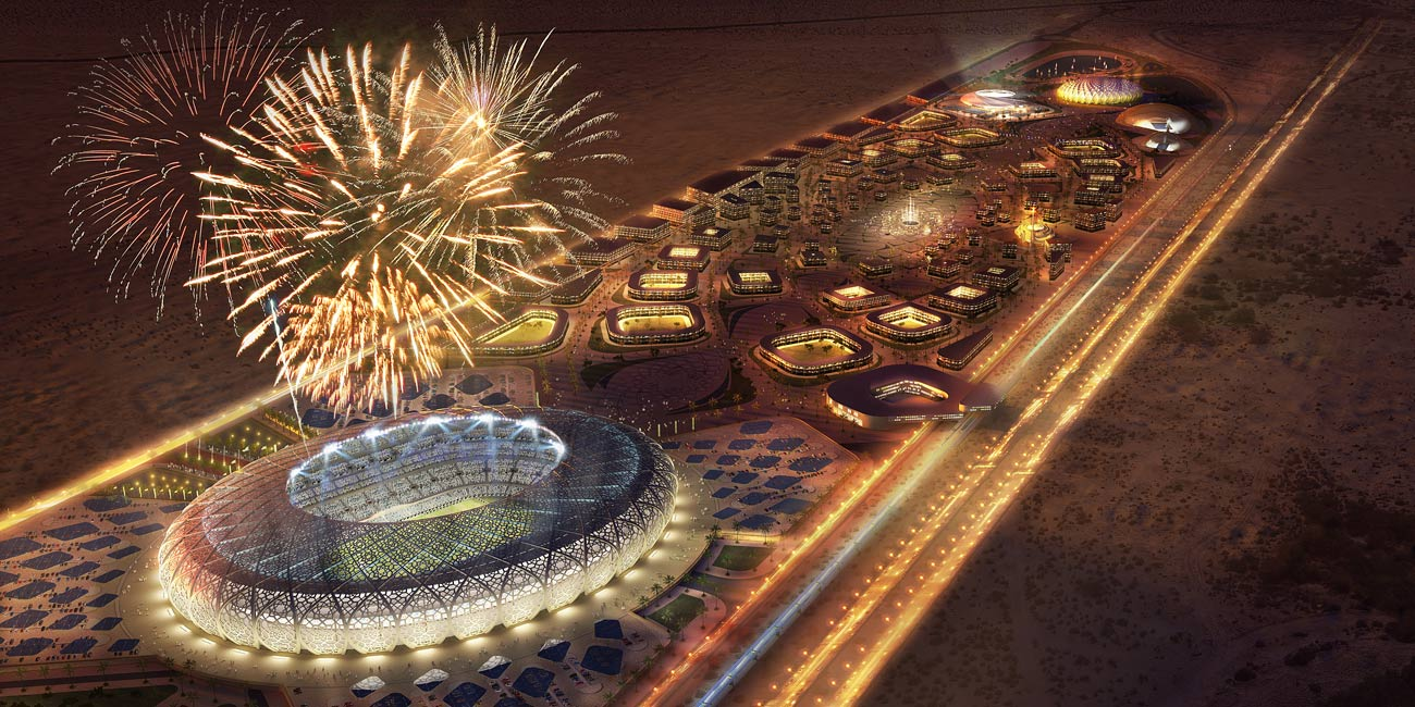 night view, fireworks - King Abdullah Sports Oasis by Marks Barfield Architects