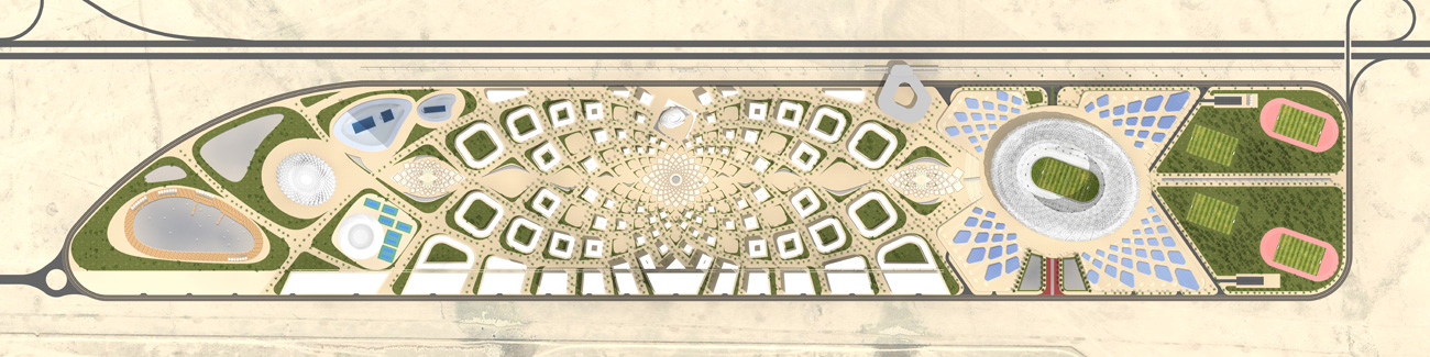 top view plan - King Abdullah Sports Oasis by Marks Barfield Architects