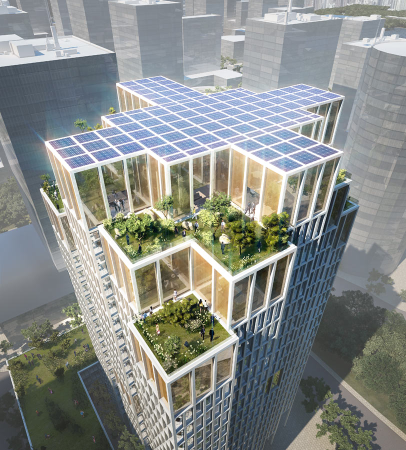 China Railway HQ Group Rooftop View by Marks Barfield Architects