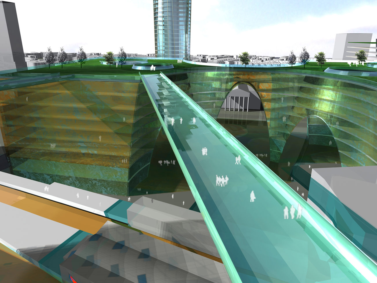 Elephant & Castle Master Plan Walkways View by Marks Barfield Architects