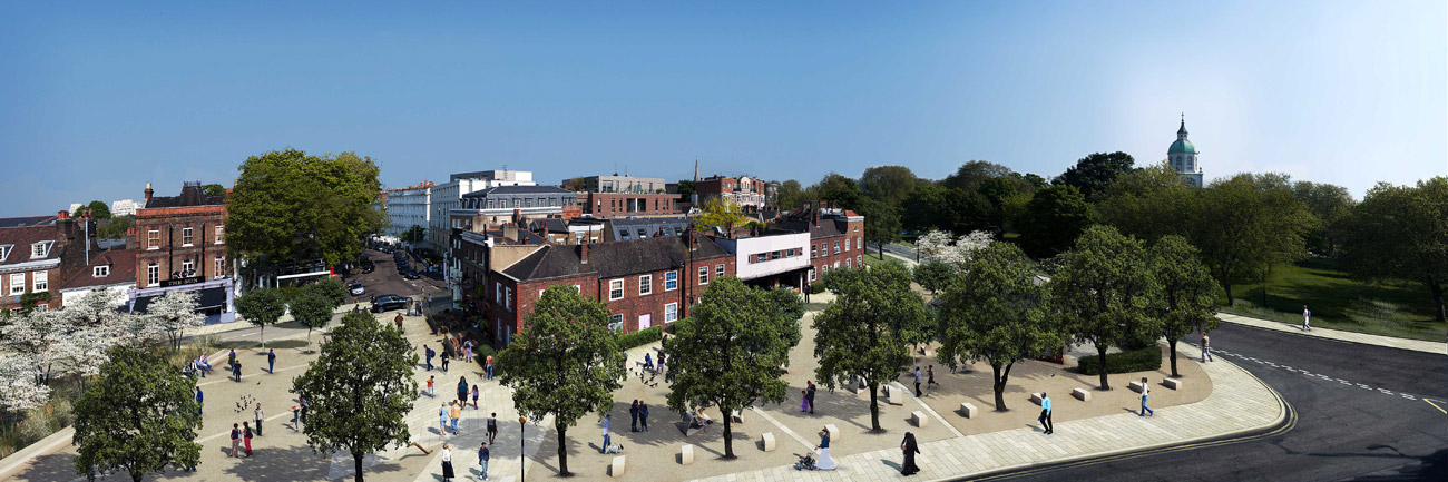 Clapham Gateway Public Realm View by Marks Barfield Architects