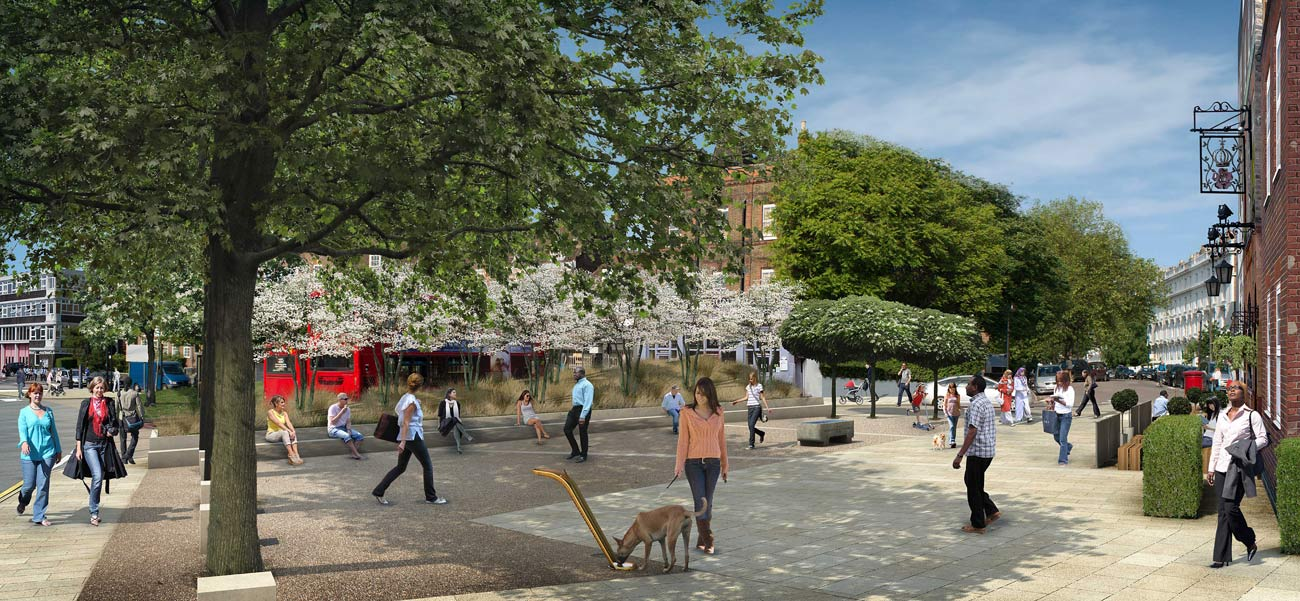 drinking water fountain CGI Clapham by Marks Barfield Architects