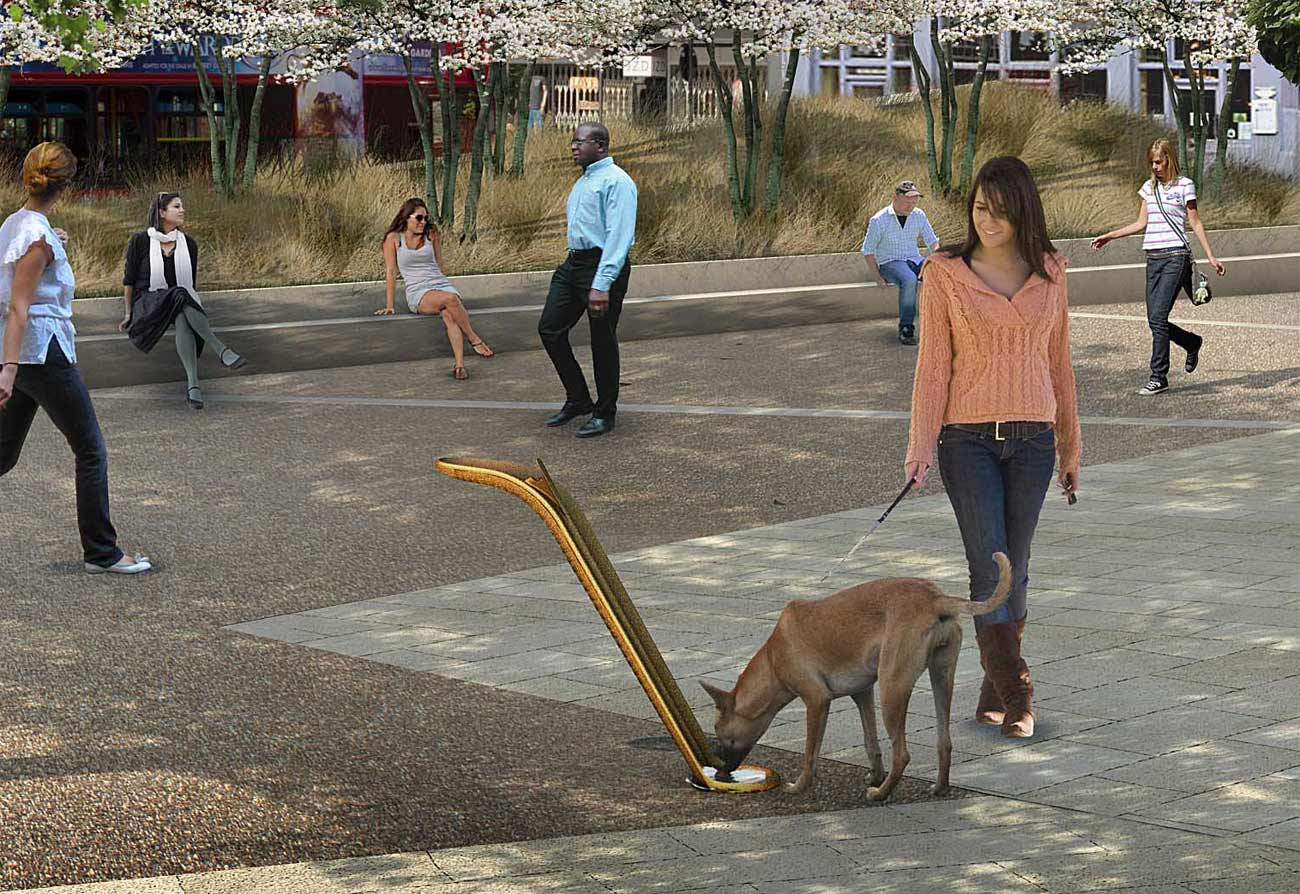 drinking water fountain CGI dog drinking by Marks Barfield Architects
