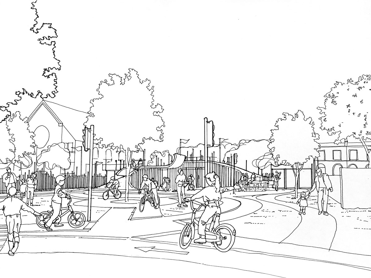 Oasis Cycle Centre Sketch by Marks Barfield Architects