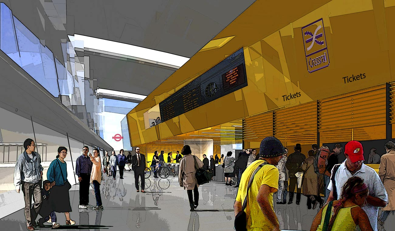 Ilford Crossrail Concourse View by Marks Barfield Architects