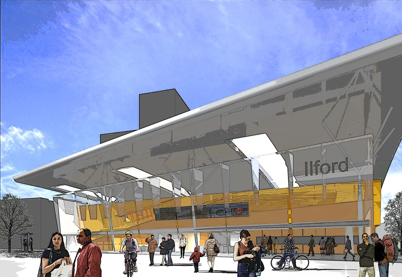 Ilford Crossrail Entrance View by Marks Barfield Architects