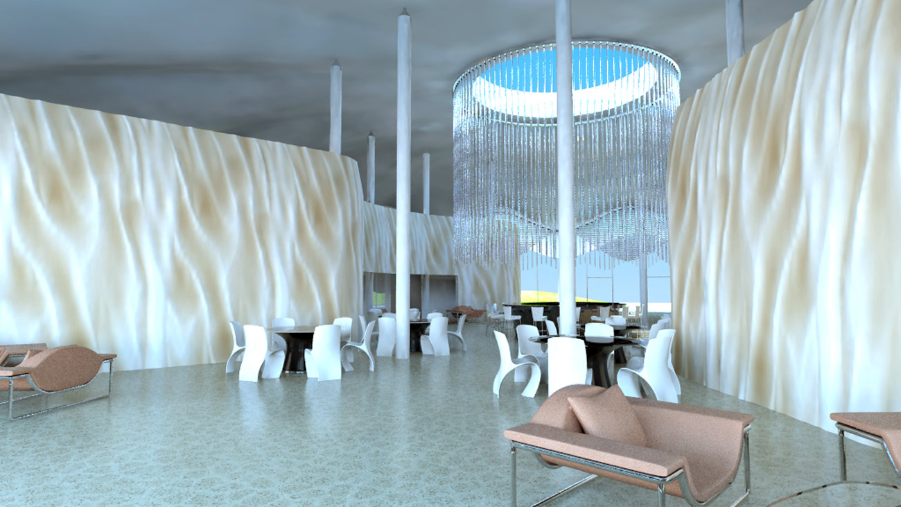 Abyaar Clubhouse CGI - interior view by Marks Barfield Architects