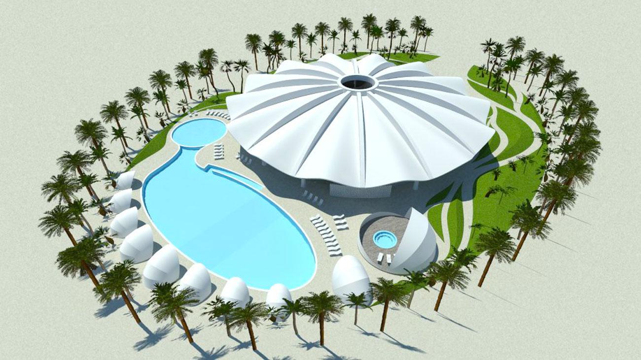 Abyaar Clubhouse CGI - birds eye by Marks Barfield Architects
