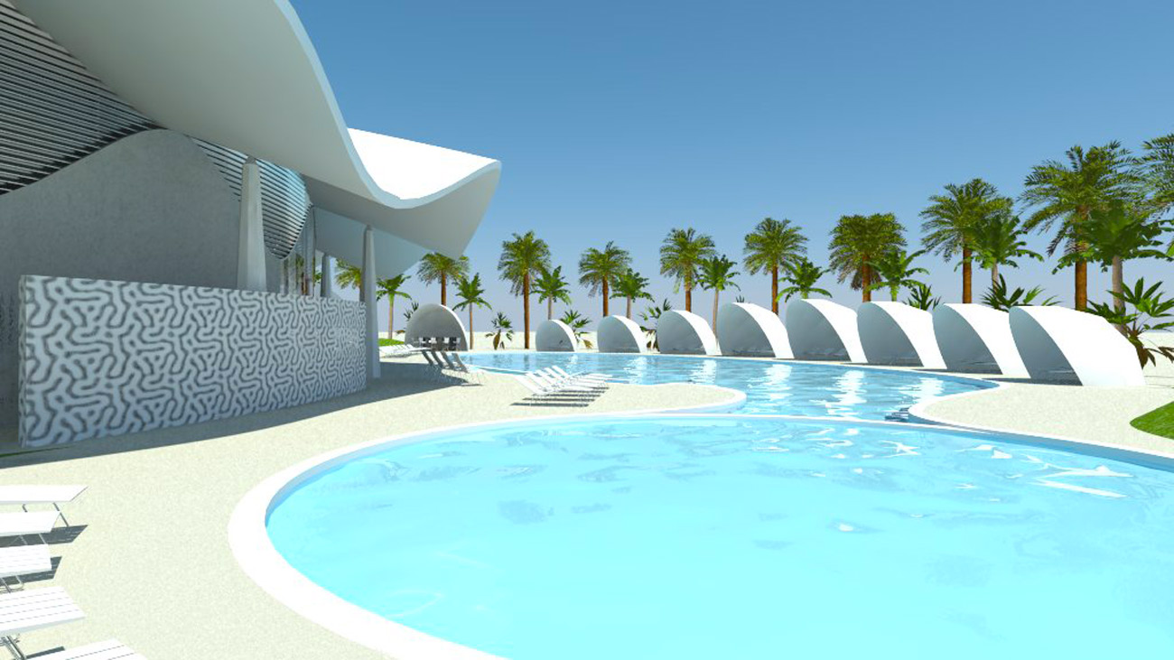 Abyaar Clubhouse CGI - swimming pool by Marks Barfield Architects