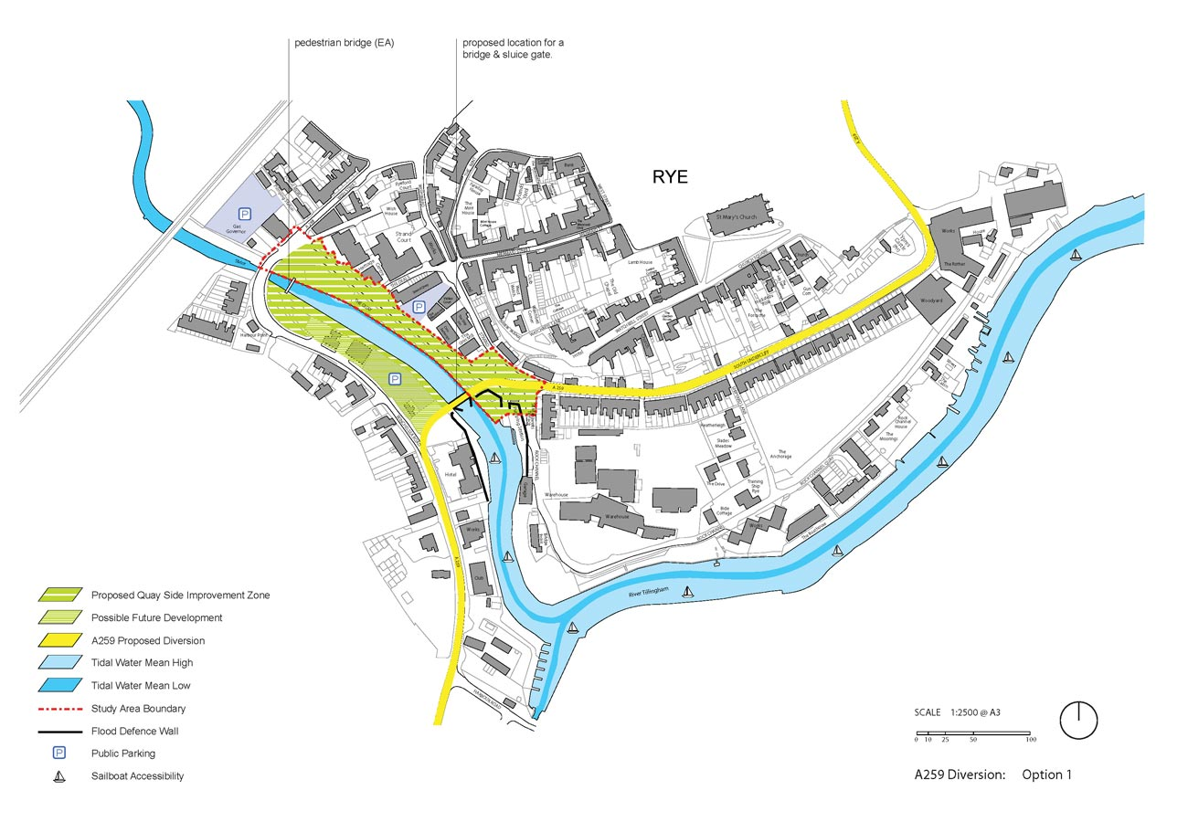 Rye Quay Side Option 1 with A259 Diversion by Marks Barfield Architects
