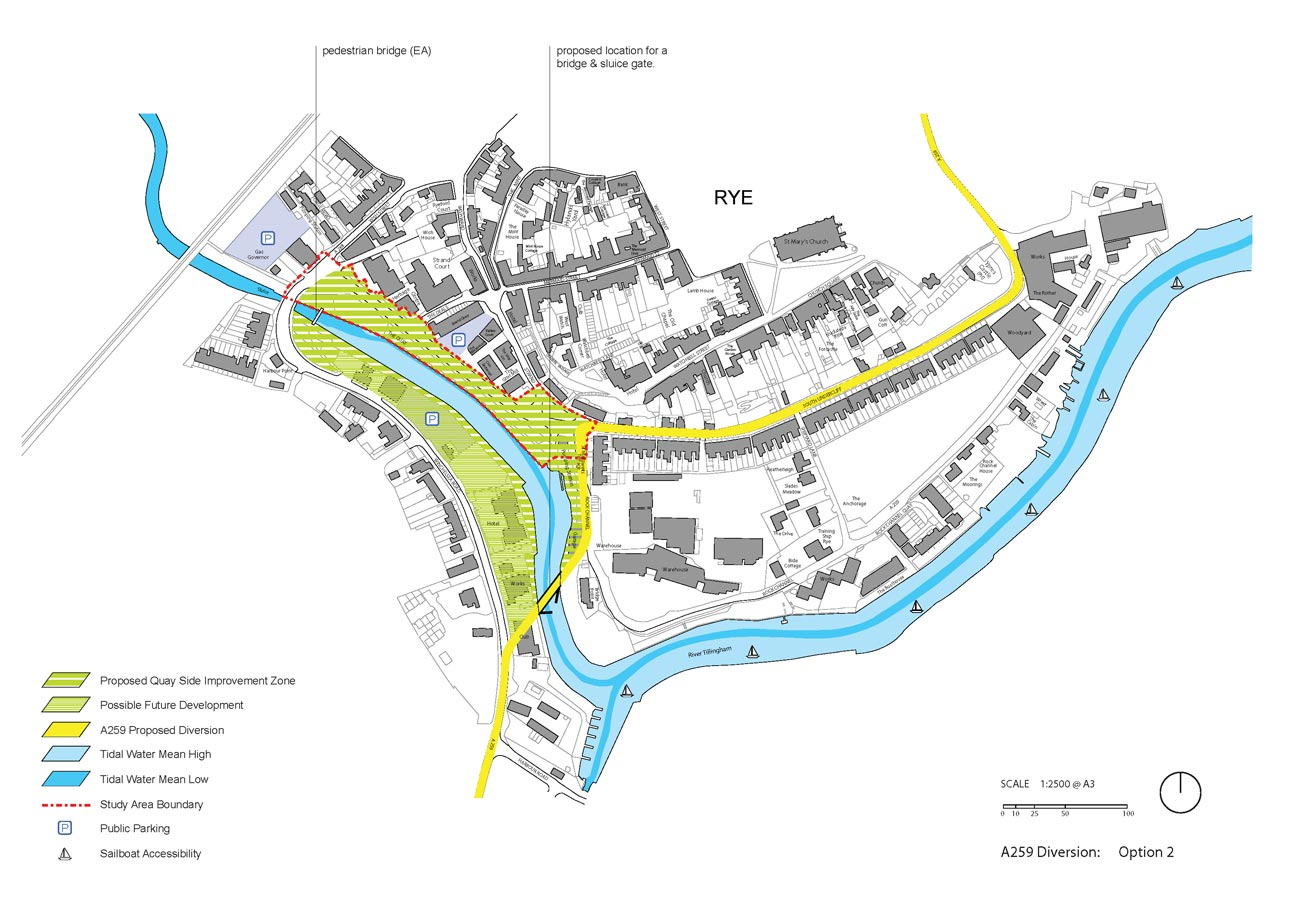 Rye Quay Side Option 2 with A259 Diversion by Marks Barfield Architects