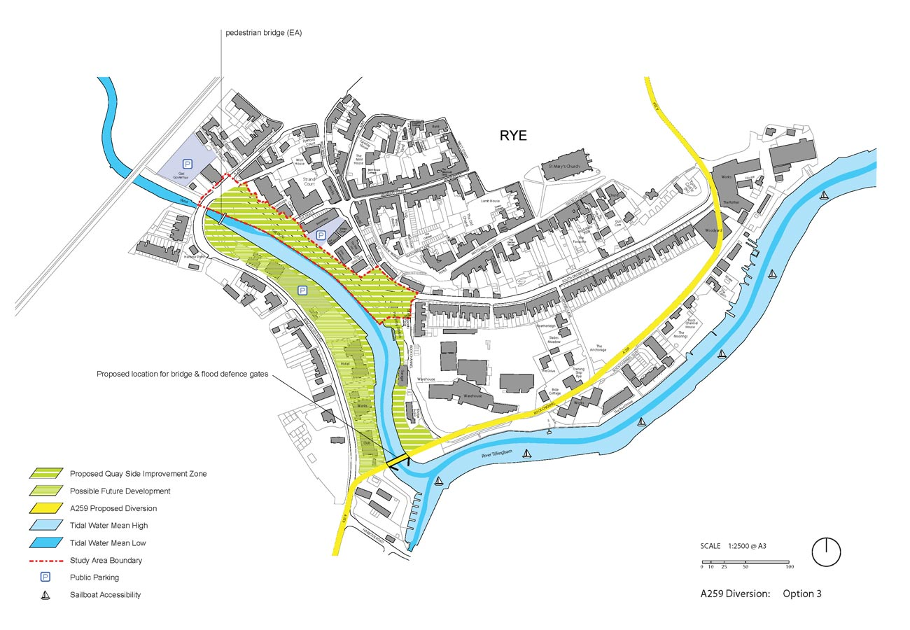 Rye Quay Side Option 3 with A259 Diversion by Marks Barfield Architects