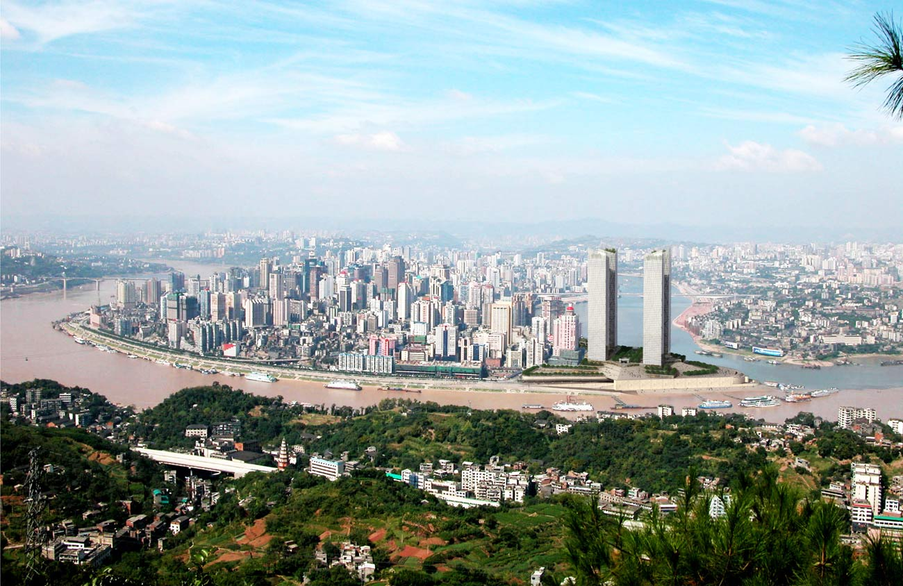 skyline - Chaotianmen Square, Chongqing by Marks Barfield Architects