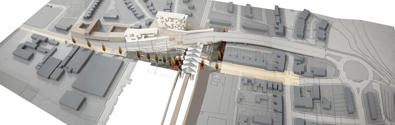Abbey Wood Interchange Aerial View by Marks Barfield Architects