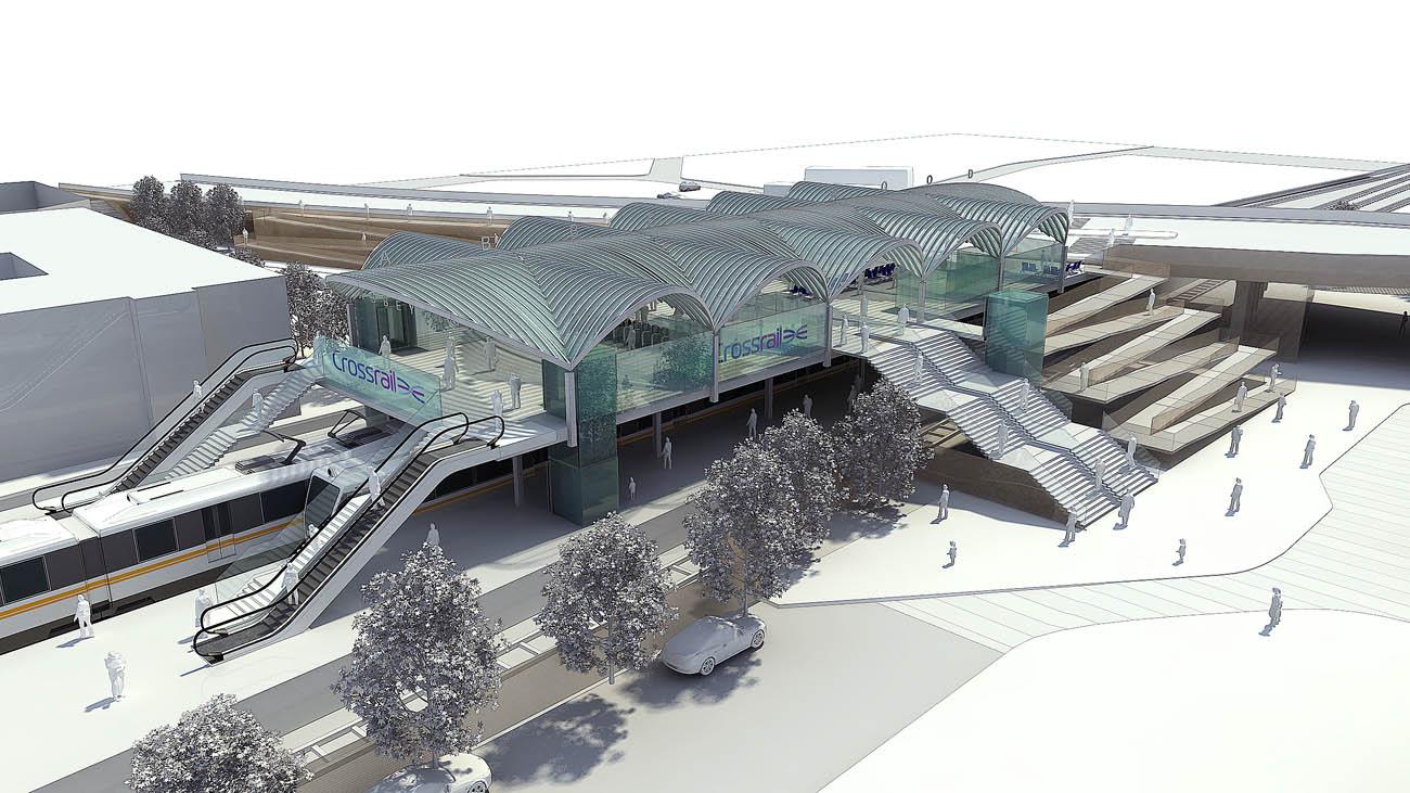 Abbey Wood Interchange Axonometric by Marks Barfield Architects