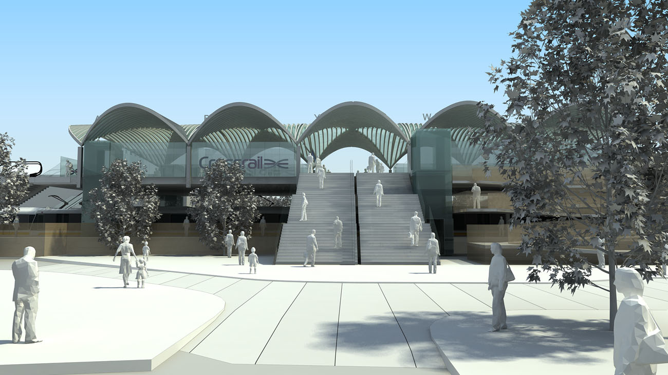Abbey Wood Interchange Approach View by Marks Barfield Architects