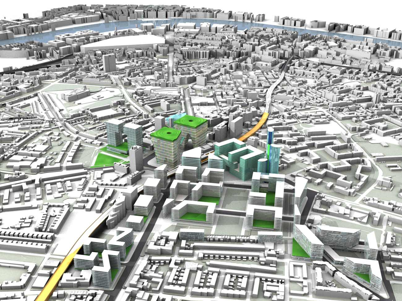 Elephant & Castle Master Plan Aerial View by Marks Barfield Architects