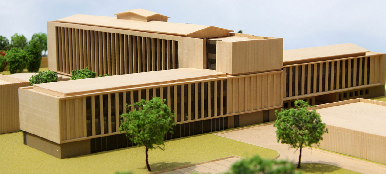 British High Commission Model by Marks Barfield Architects