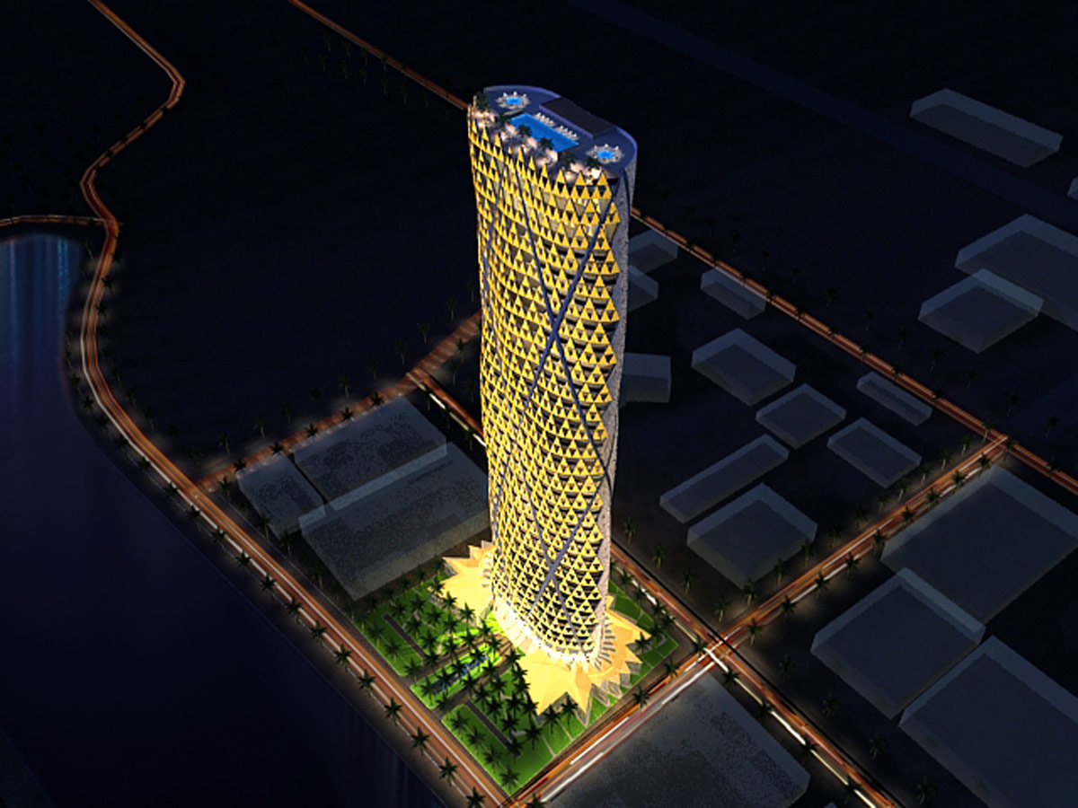Jeddah Tower Residences Night Aerial View by Marks Barfield Architects