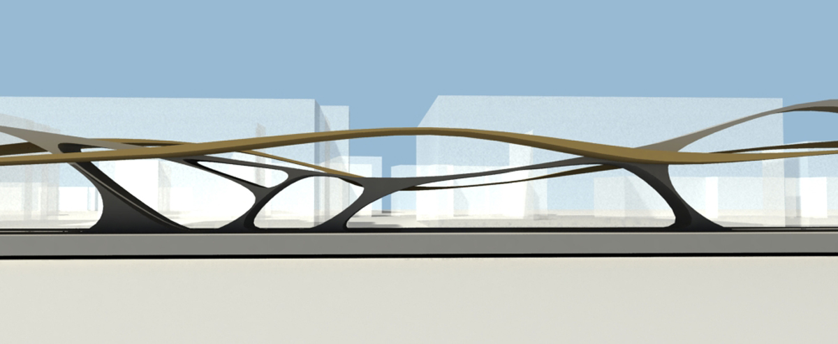 Crossrail Custom House Ondulated Concept Elevation by Marks Barfield Architects