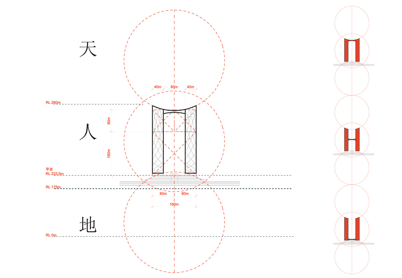 proportion diagram - Chaotianmen Square, Chongqing by Marks Barfield Architects