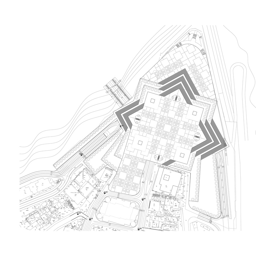 plan - Chaotianmen Square, Chongqing by Marks Barfield Architects