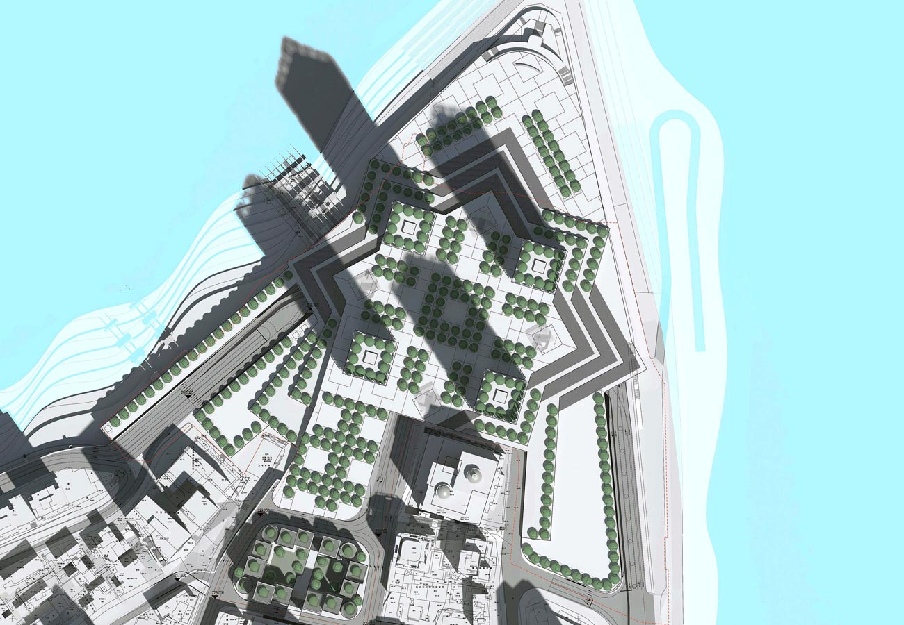 top view - Chaotianmen Square, Chongqing by Marks Barfield Architects