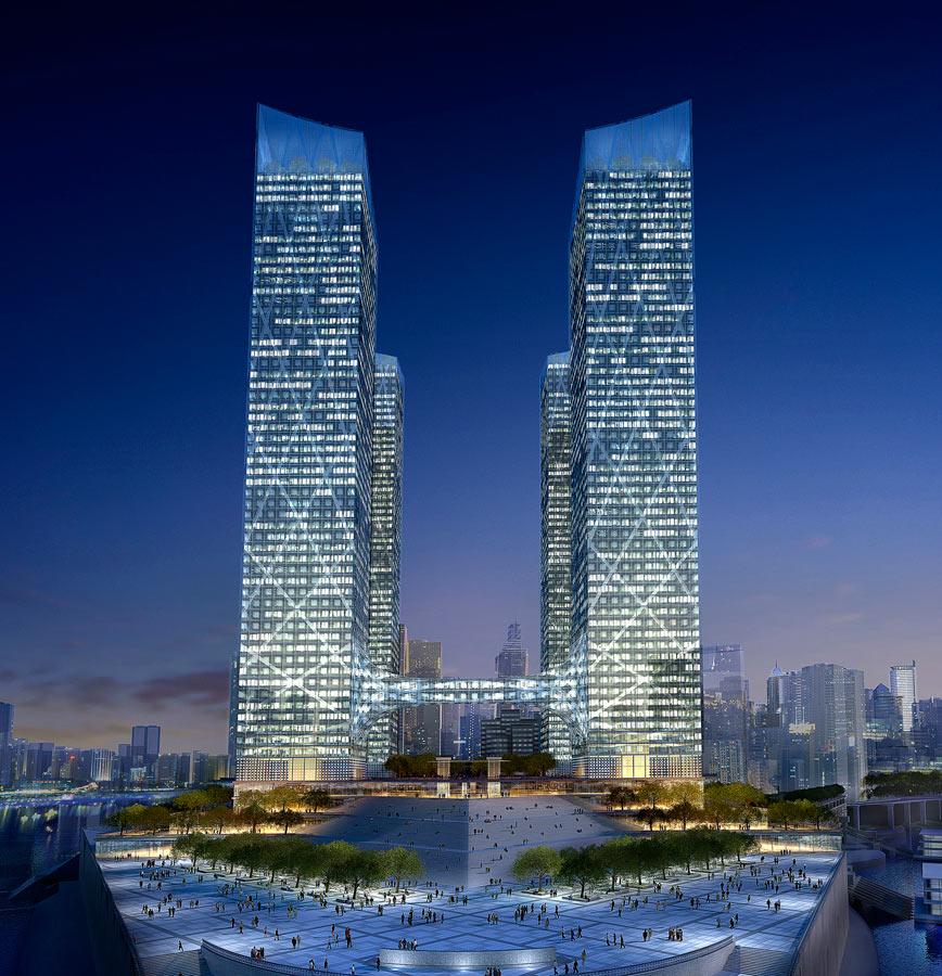 bridge bottom - Chaotianmen Square, Chongqing by Marks Barfield Architects