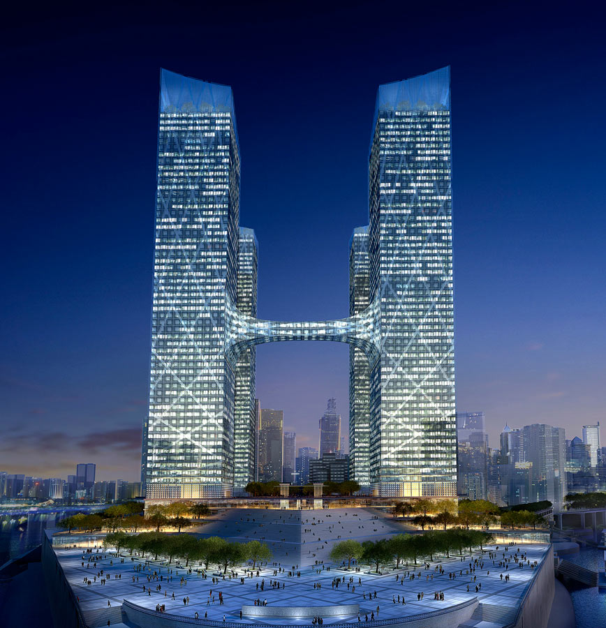 bridge middle - Chaotianmen Square, Chongqing by Marks Barfield Architects