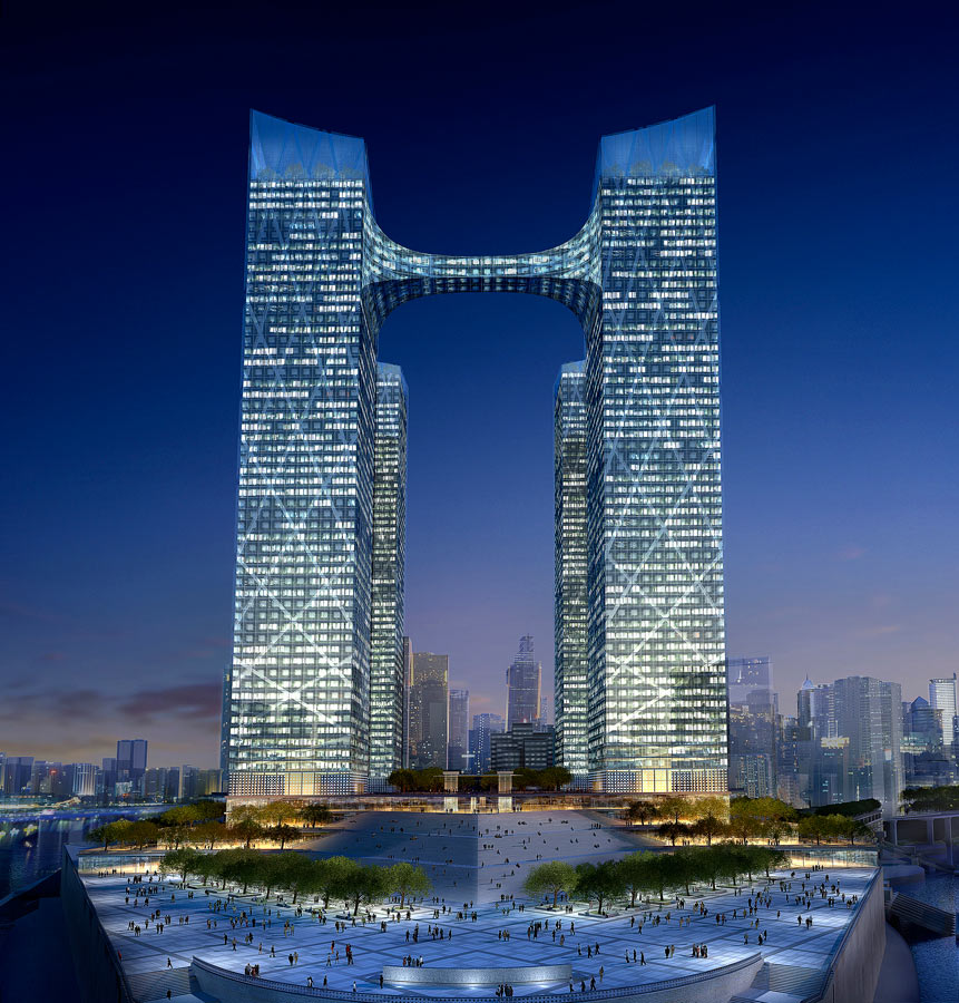 bridge up - Chaotianmen Square, Chongqing by Marks Barfield Architects