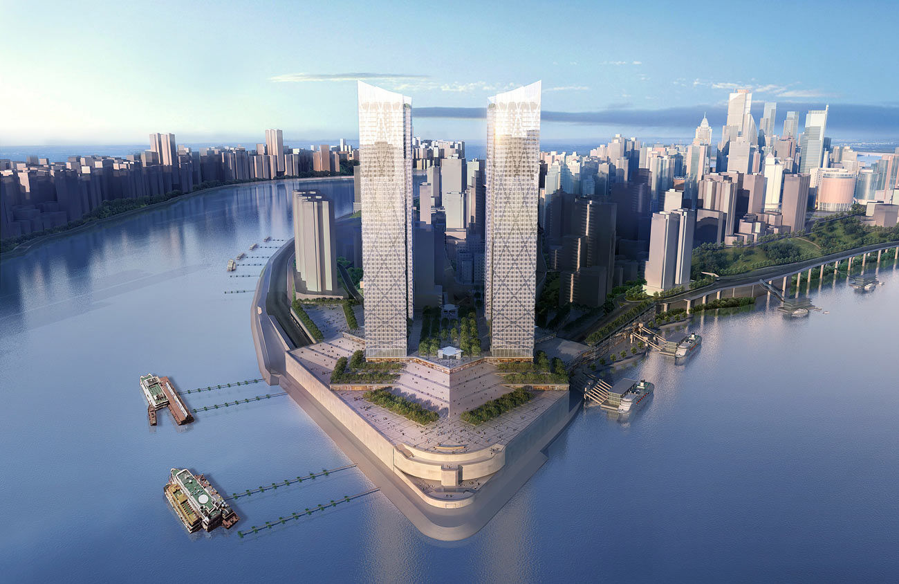day view - Chaotianmen Square, Chongqing by Marks Barfield Architects