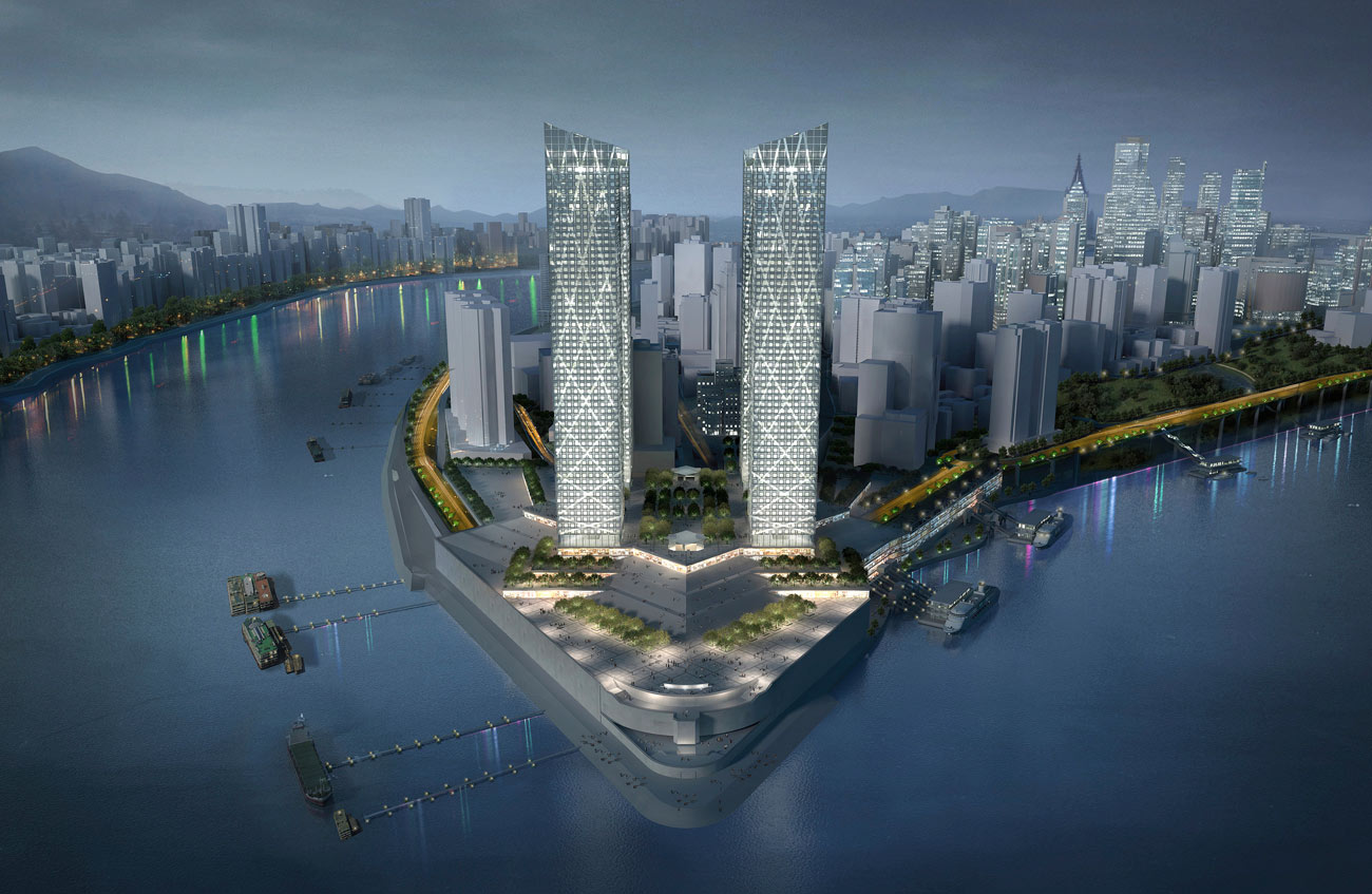 night view - Chaotianmen Square, Chongqing by Marks Barfield Architects