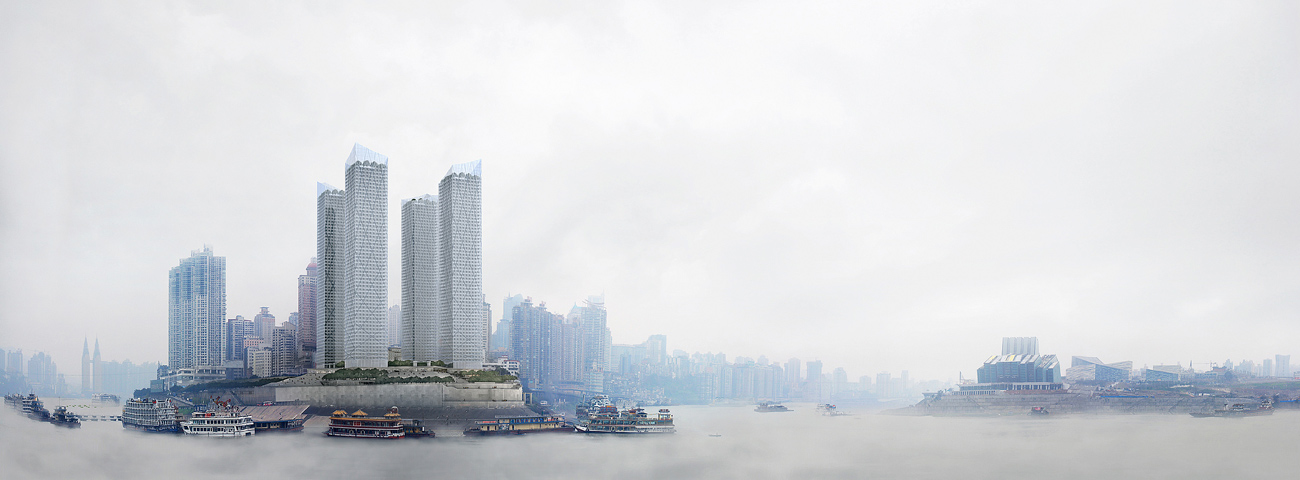 view - Chaotianmen Square, Chongqing by Marks Barfield Architects