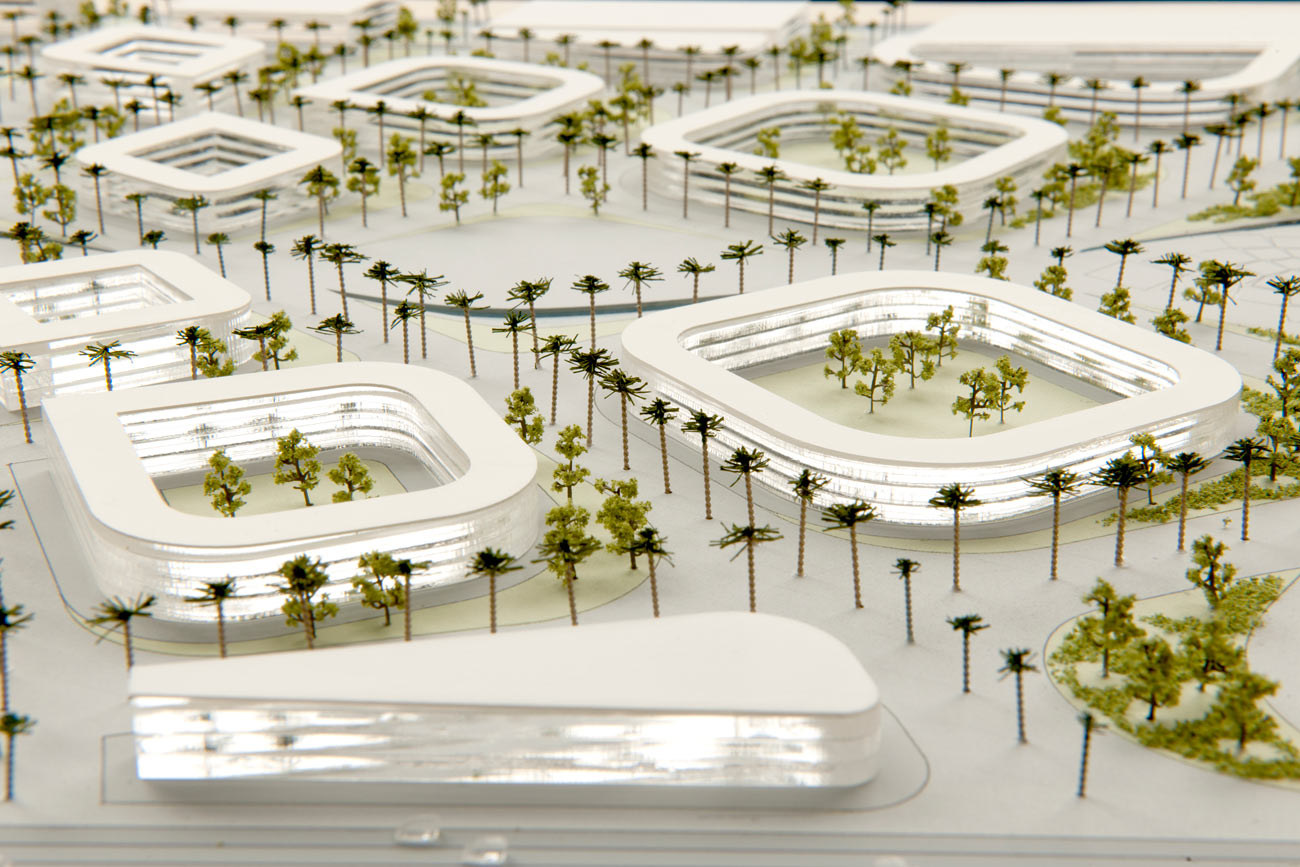 mixed buildings model - King Abdullah Sports Oasis by Marks Barfield Architects