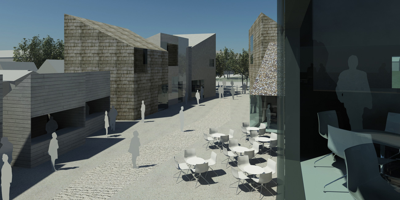 Selsey Public Exhibition boards - CGI view by Marks Barfield Architects