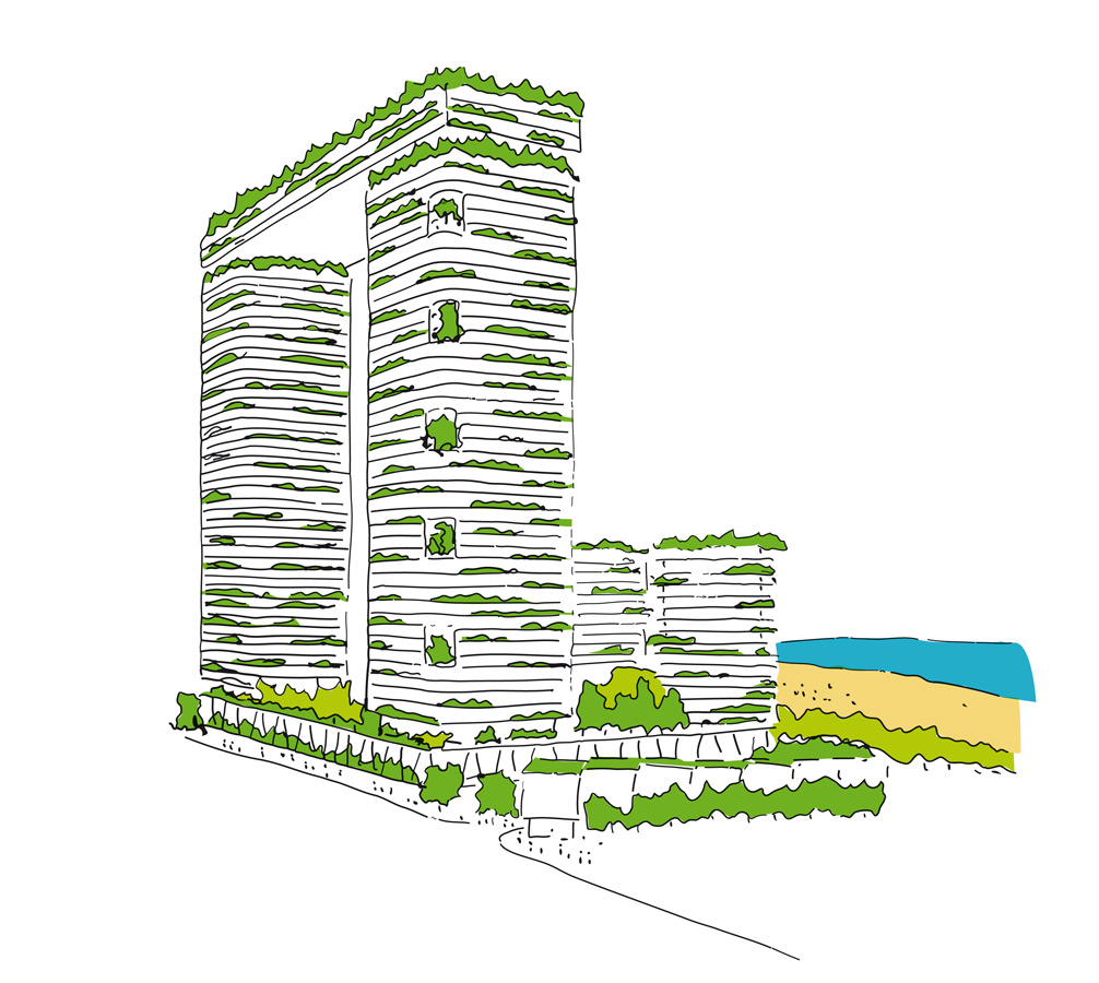 Gold Coast Mixed Use Development Biophilia Sketch View by Marks Barfield Architects