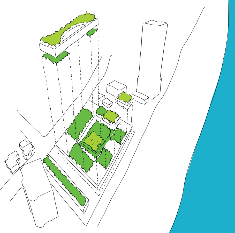 Gold Coast Mixed Use Development Green Roof Sketch View by Marks Barfield Architects