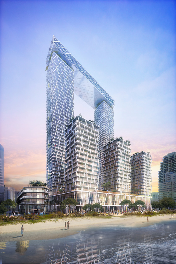 Gold Coast Mixed Use Development Dusk View by Marks Barfield Architects