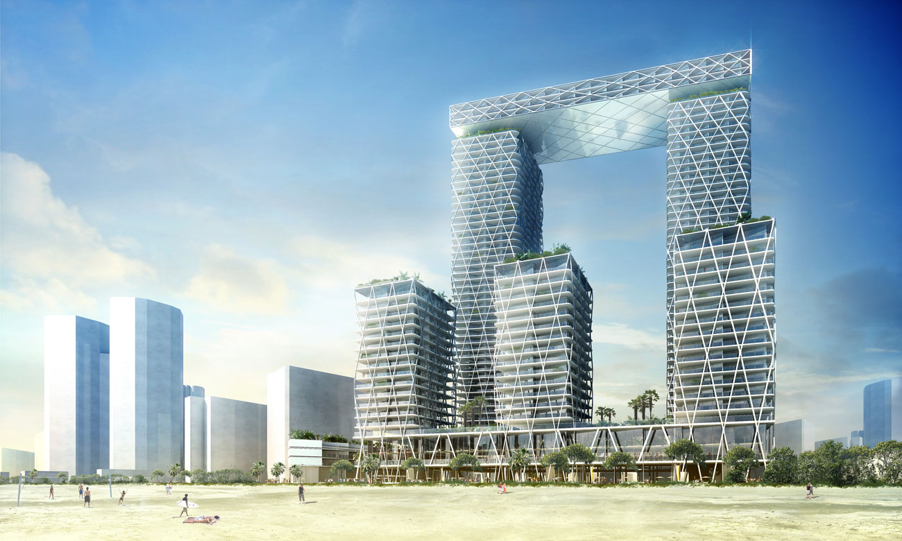 Gold Coast Mixed Use Development Day View by Marks Barfield Architects