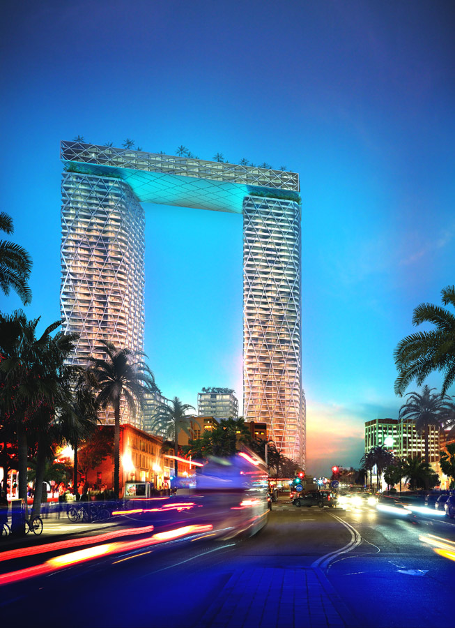 Gold Coast Mixed Use Development Night View by Marks Barfield Architects
