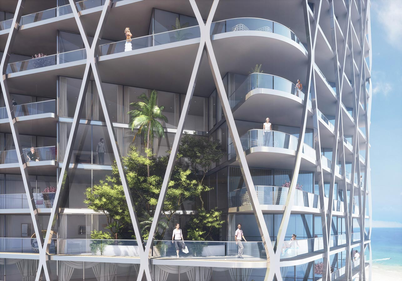 Gold Coast Mixed Use Development Biophilia View by Marks Barfield Architects