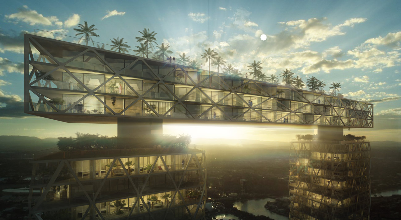 Gold Coast Mixed Use Development Rooftop Bridge by Marks Barfield Architects