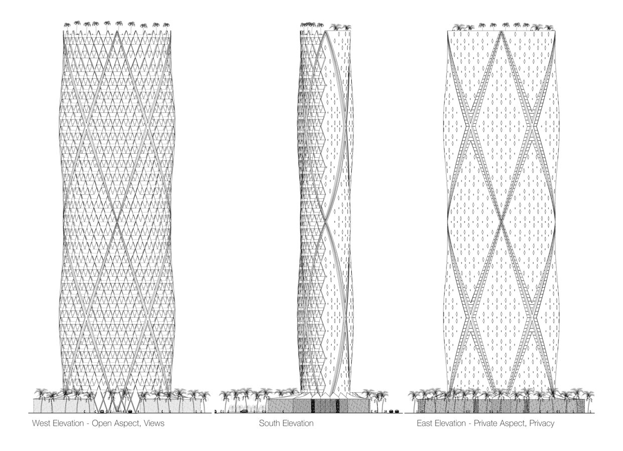 Jeddah Tower Residences Elevation by Marks Barfield Architects
