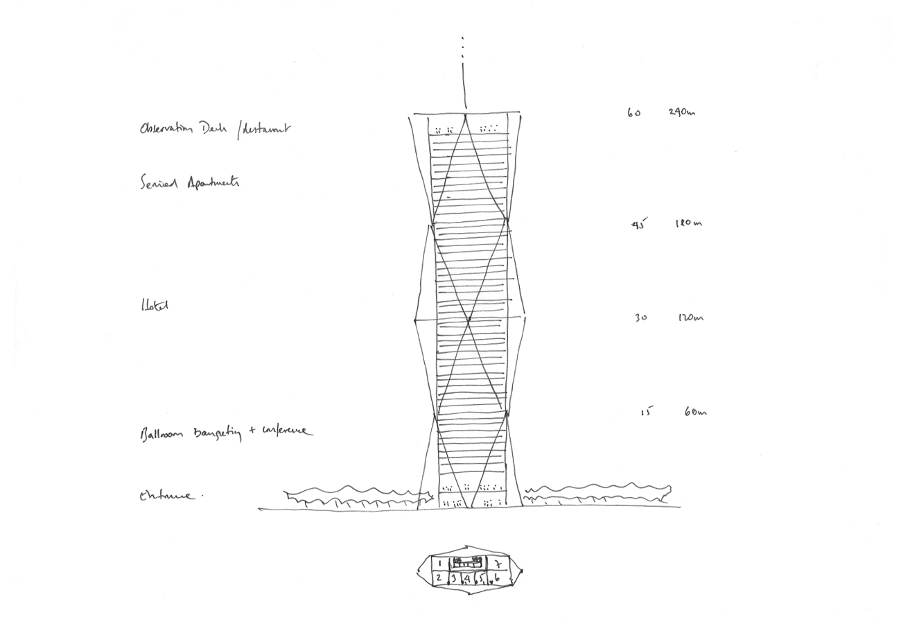 Jeddah Tower Residences Sketch by Marks Barfield Architects