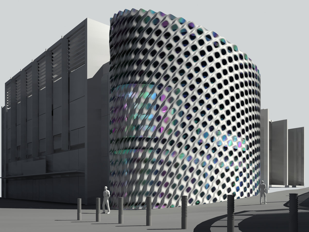 facade test- Liverpool One Costa Cafe by Marks Barfield Architects