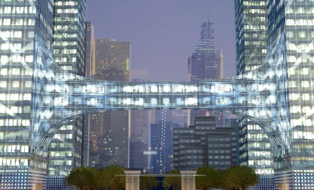 bridge link - Chaotianmen Square, Chongqing by Marks Barfield Architects