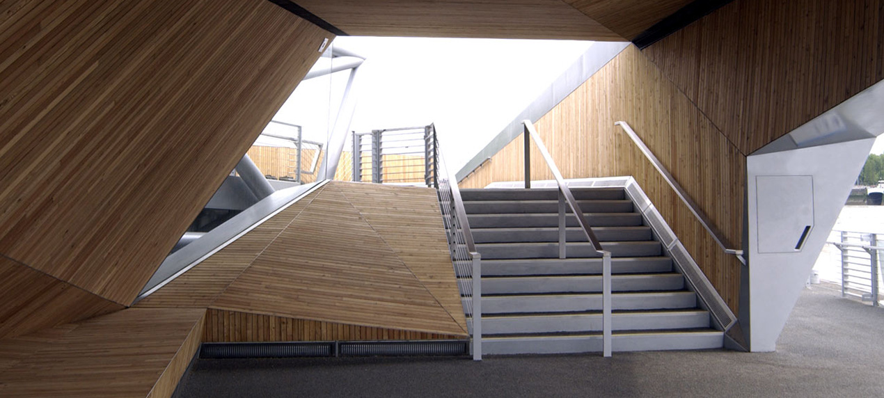 Mill bank Millennium Pier Interior by Marks Barfield Architects
